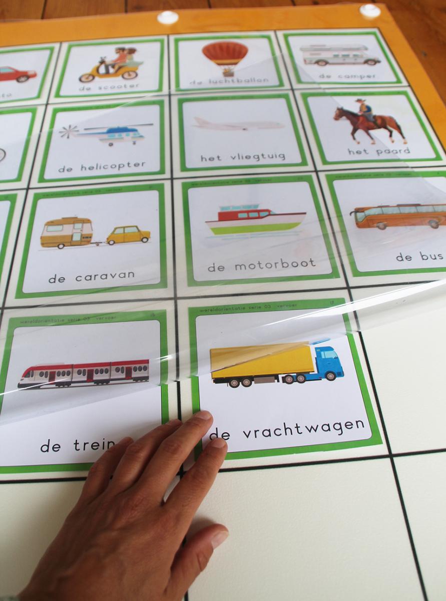 Transparante mat met kaarten 'Vervoer'